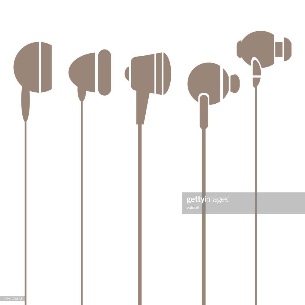 Earphones Silhouettes Icons