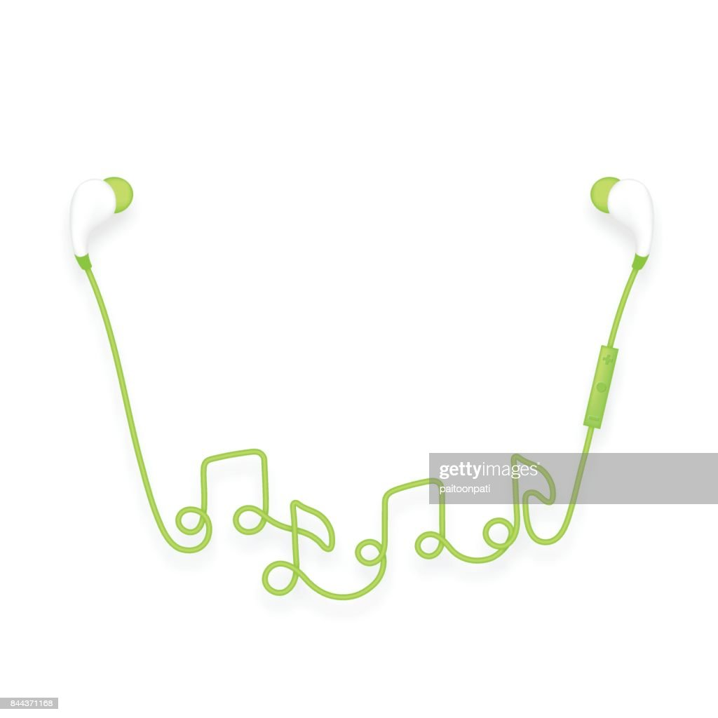 Earphones wireless and remote in ear type green color and music earphones wireless and remote in ear type green color and music note symbol made from cable isolated on white background with copy space buycottarizona