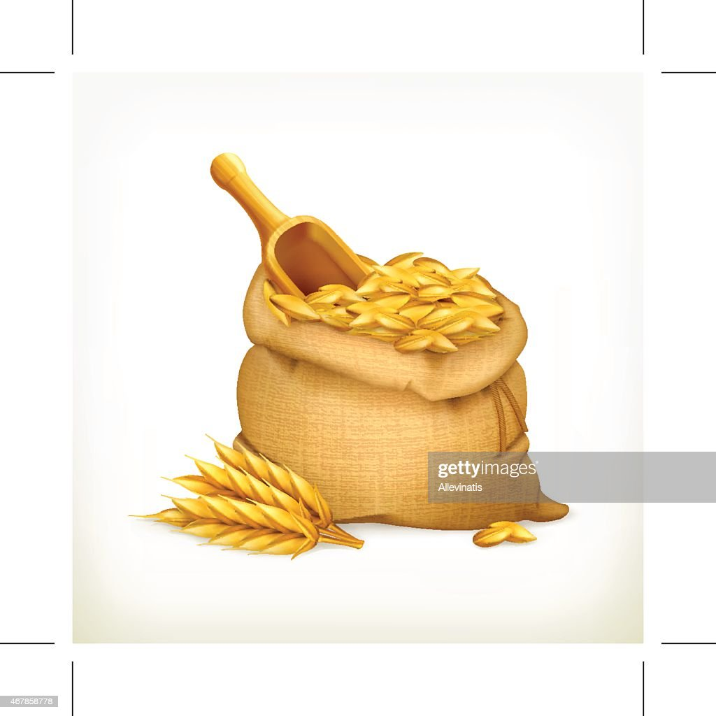 Ears and wheat bag, isolated vector illustration