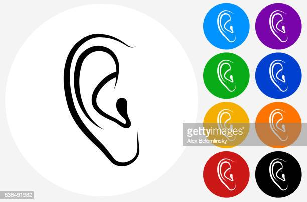 ears icon on flat color circle buttons - ear stock illustrations, clip art, cartoons, & icons