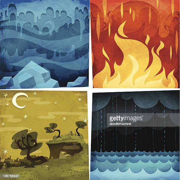 earth, air, fire, water - fire natural phenomenon stock illustrations, clip art, cartoons, & icons