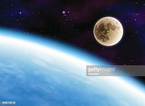 earth and moon - moon stock illustrations