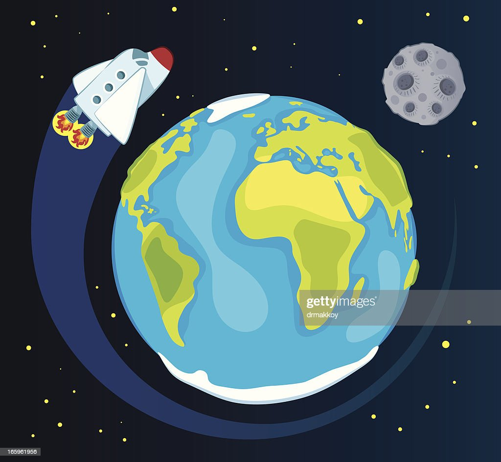 Earth and space ship : stock illustration