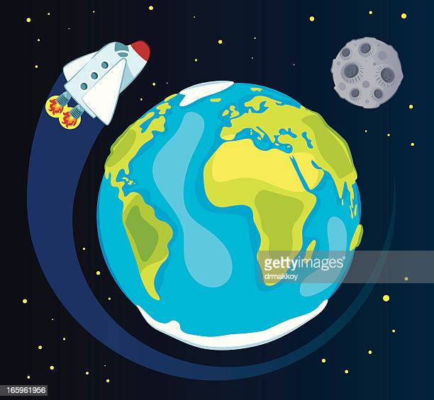 earth and space ship - planet space stock illustrations