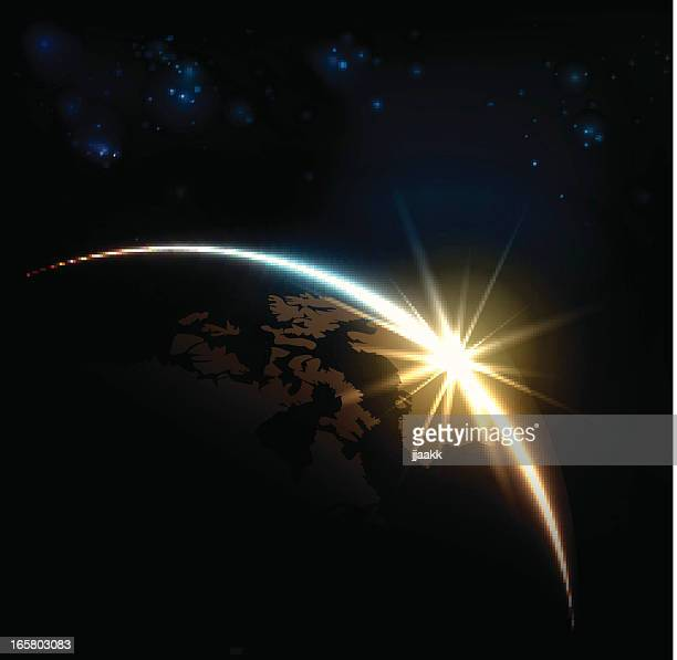 earth and sunrise - flare stack stock illustrations, clip art, cartoons, & icons