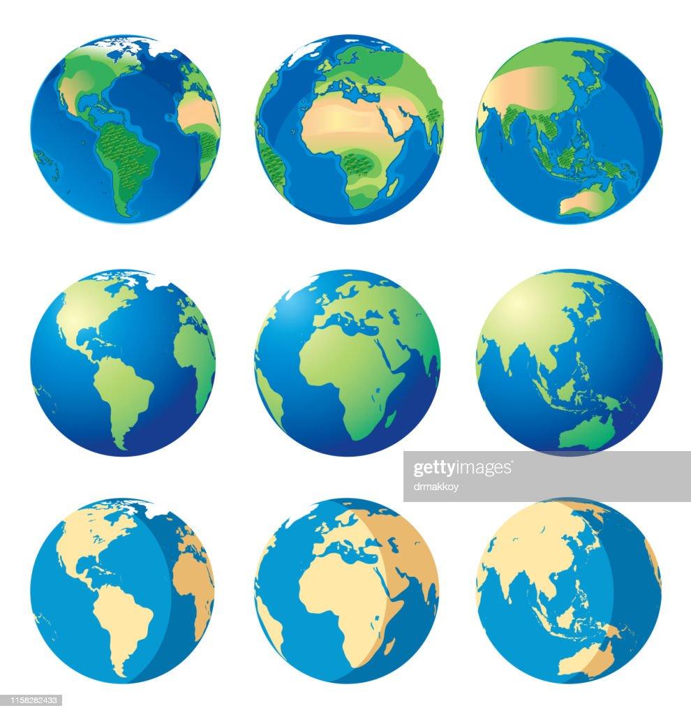Carte de la Terre et du Monde : Illustration