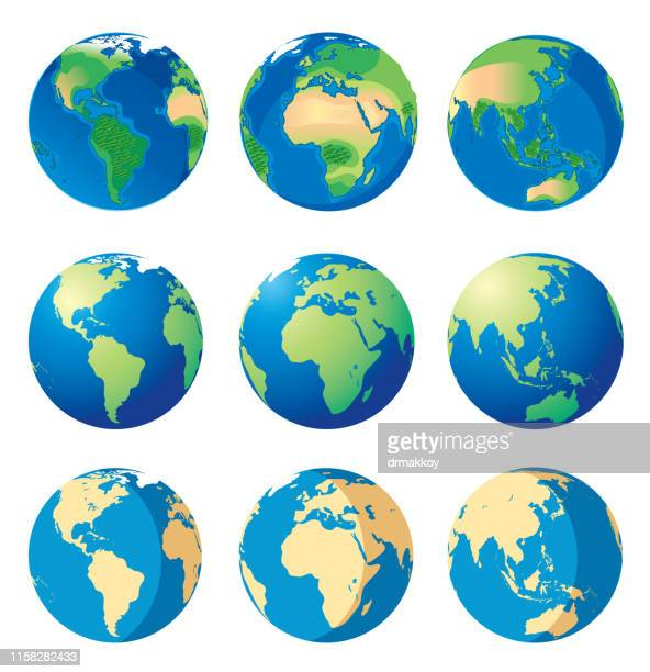 illustrazioni stock, clip art, cartoni animati e icone di tendenza di earth and world map - globo terrestre