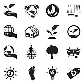 Earth Conservation And Ecology Icons. Black Flat Design. Vector Illustration.