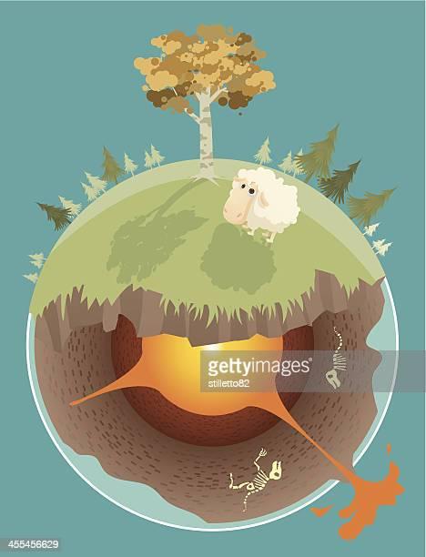 ilustraciones, imágenes clip art, dibujos animados e iconos de stock de costra de tierra - corteza terrestre