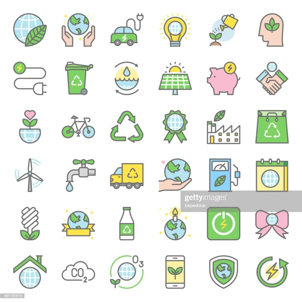 Earth day and ecology icon, filled outline icon set