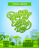 Earth Day banner with eco city and green house