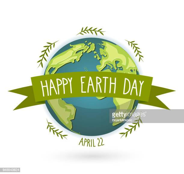 earth day banner with handwritten text, april 22 vector illustration. - earth day stock illustrations