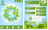 Earth Day brochure template with eco green city