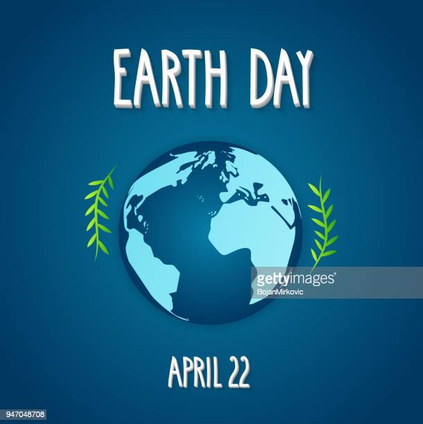 Earth Day card with earth. Blue background with hand lettering. Vector illustration.