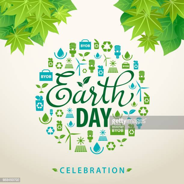 earth day ecology flyer - earth day stock illustrations