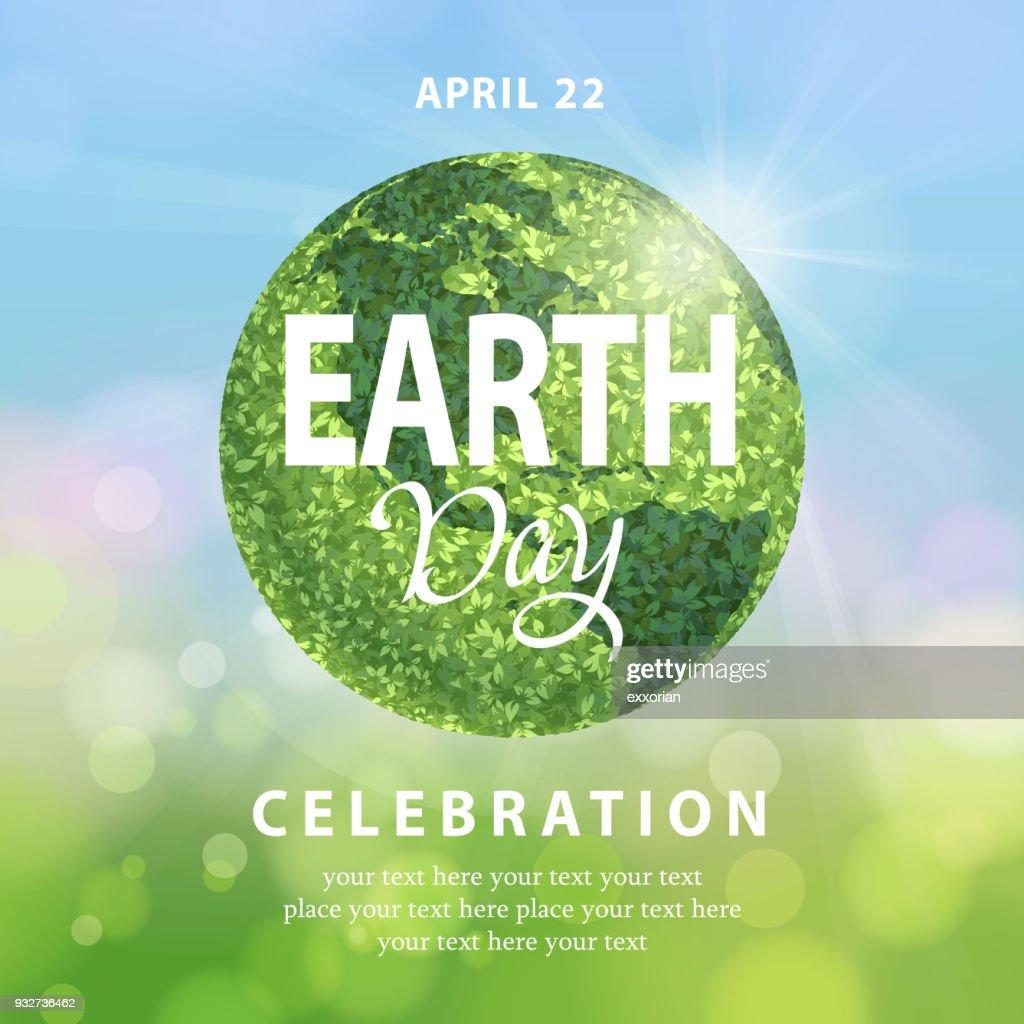 Earth Day Green Globe : Stock-Illustration