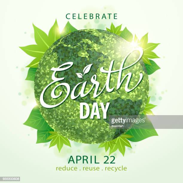 earth day green globe - earth day stock illustrations