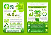 Earth Day infographics vector green energy concept