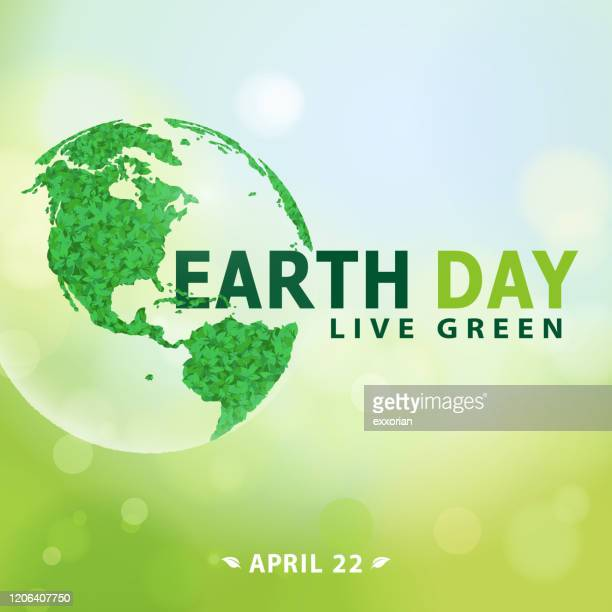 earth day live green everyday - earth day stock illustrations