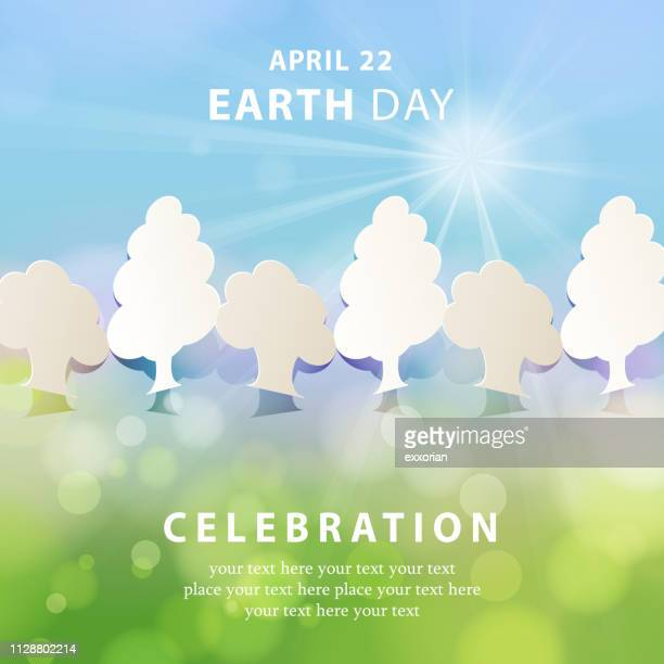 earth day papercut tree concept - earth day stock illustrations