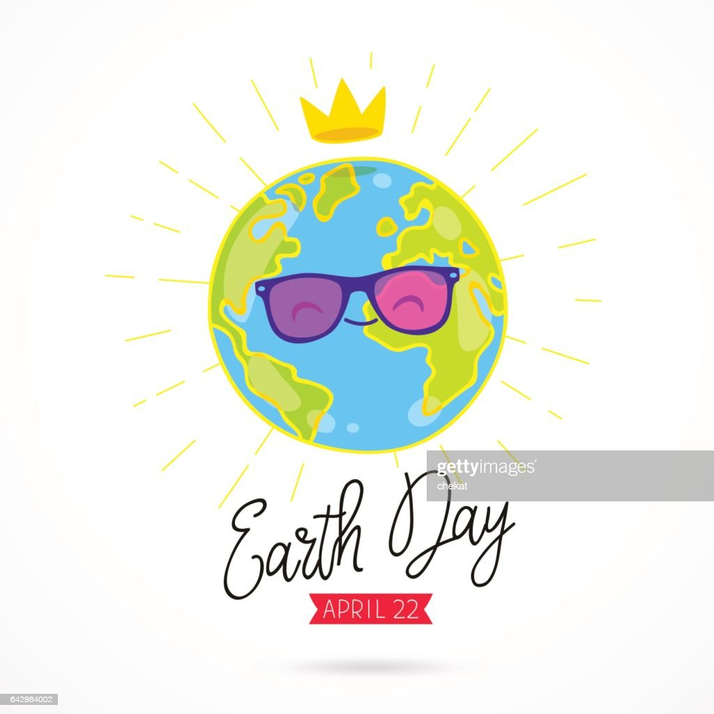 Earth Day. Planet in sunglasses and with a crown