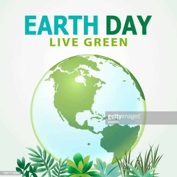 illustrazioni stock, clip art, cartoni animati e icone di tendenza di earth day planet live green - giornata mondiale della terra