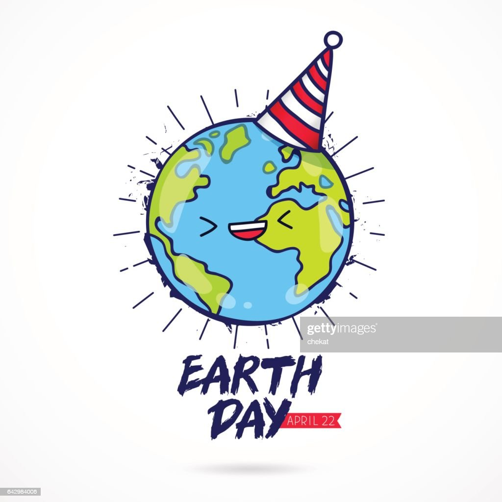 Earth Day. Planet with a celebratory cap