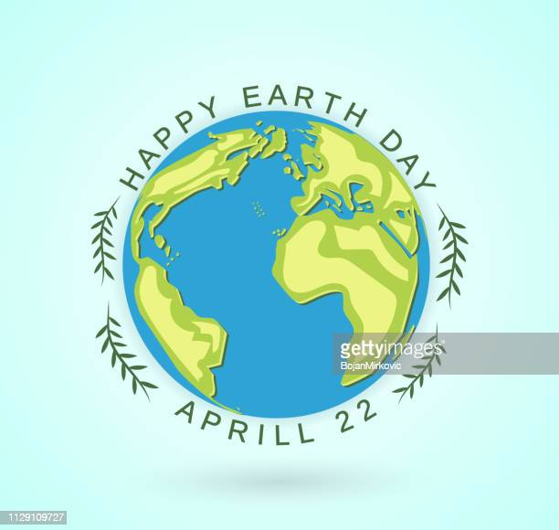earth day poster, april 22. vector illustration. - earth day stock illustrations