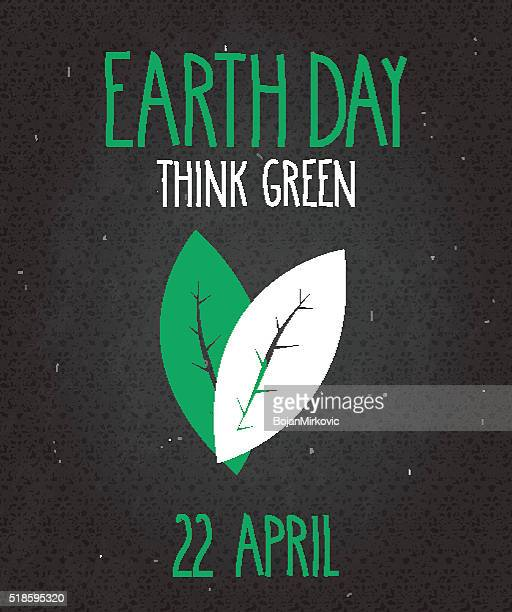 earth day poster on black chalkboard. handwritten text - earth day stock illustrations