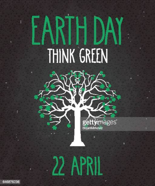 Earth Day poster on black chalkboard with tree. Think green
