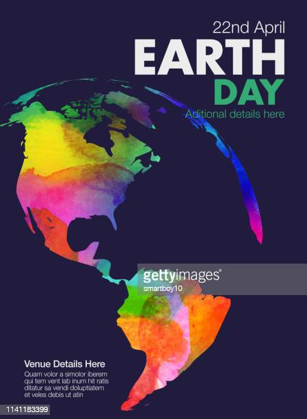 earth day poster or template - the americas stock illustrations