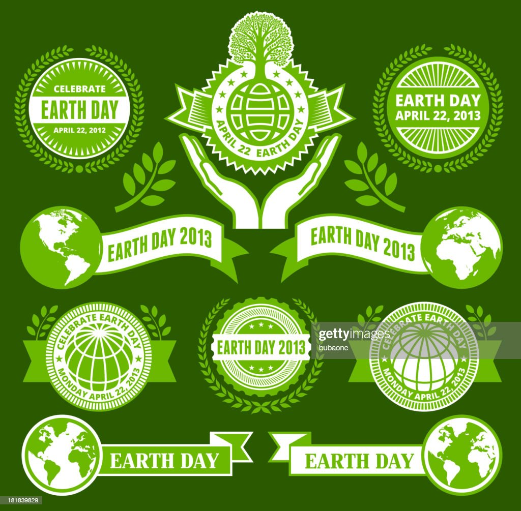 Earth Day Royalty Free Vector Banners Buttons And Symbols Vector Art