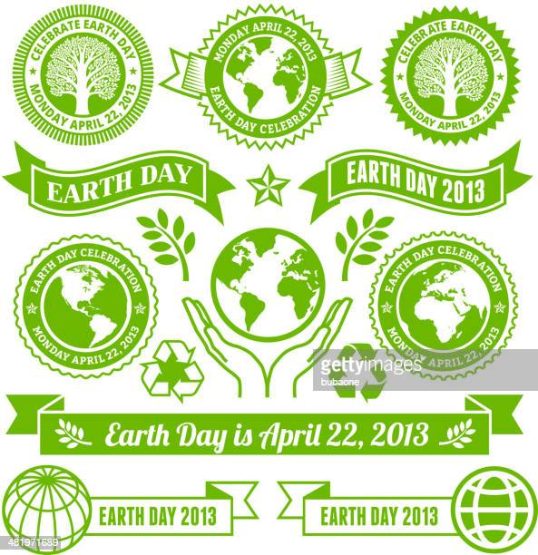 earth day royalty free vector banners, buttons, and symbols - earth day stock illustrations