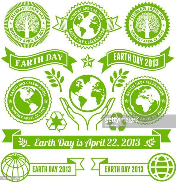 Earth Day lizenzfreie vektor-Banner, Buttons und Symbole