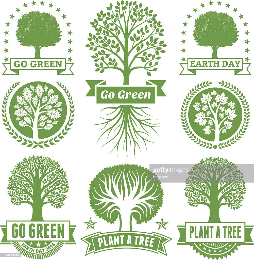 Earth Day royalty free vector Green Tree Banners & Badges : stock illustration
