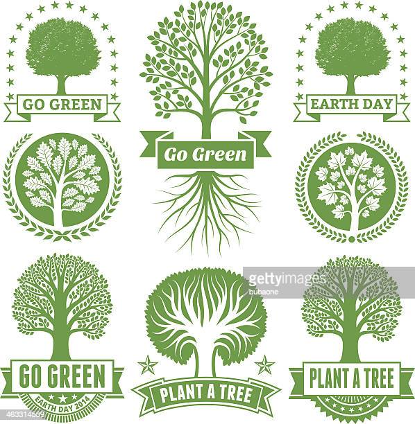 earth day royalty free vector green tree banners & badges - deciduous tree stock illustrations, clip art, cartoons, & icons
