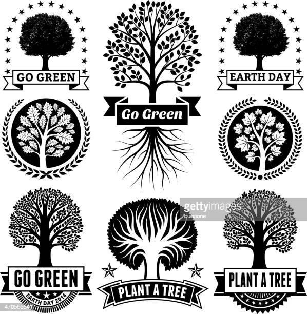 earth day royalty free vector with tree banners & badges - deciduous tree stock illustrations, clip art, cartoons, & icons