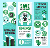 Earth Day, save planet banner set for eco design