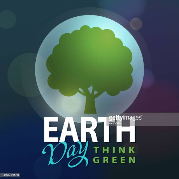 earth day think green - earth day stock illustrations