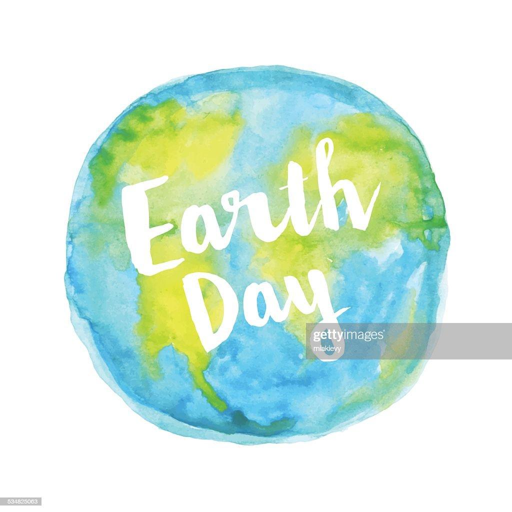 Earth day watercolour : stock illustration