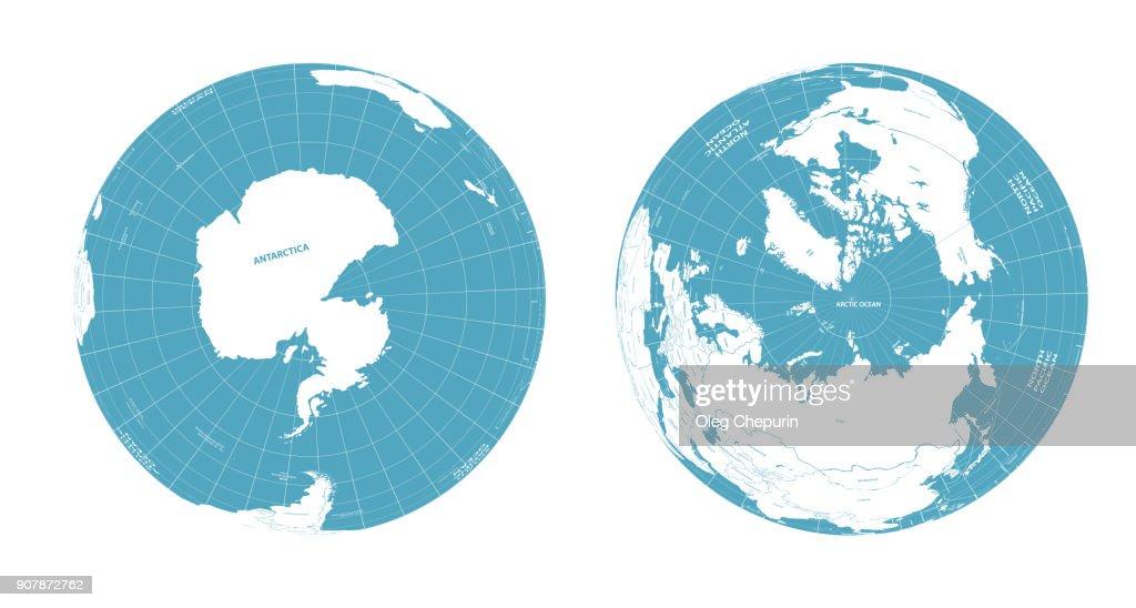 Earth globe arctic and antarctic view