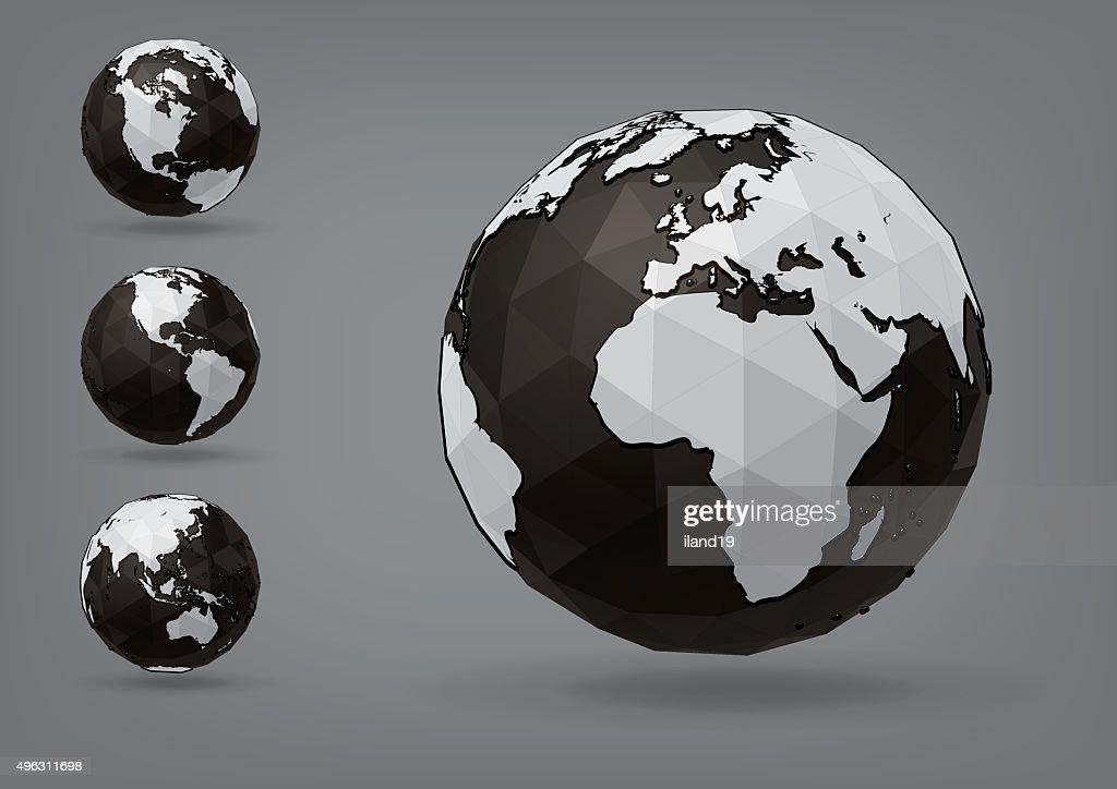 Earth globe as polyhedron