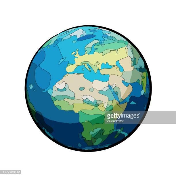 ilustraciones, imágenes clip art, dibujos animados e iconos de stock de globo terráqueo de europa y africa illustration - europa continente