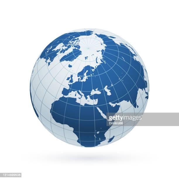 北半球と主要子午線に焦点を当てた地球地球。アフリカ、アジア、ヨーロッパ、北極、グリーンランド。 - 北極点点のイラスト素材/クリップアート素材/マンガ素材/アイコン素材