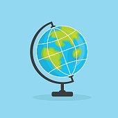 Earth Globe Icon, flat editable vector illustration, clip art