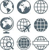 Earth Globe Icon Set Round - Vector Illustration