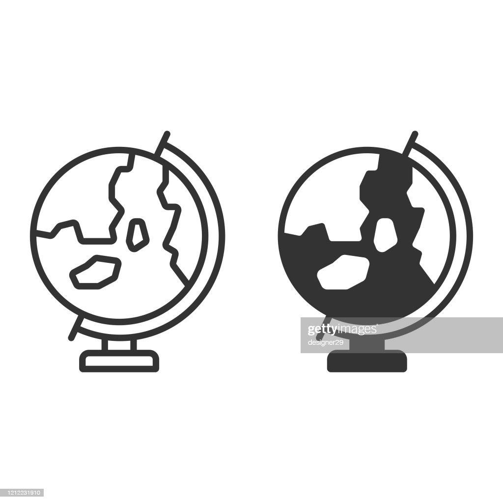 Earth Globe Icon Vector Design sur le fond blanc. : Illustration