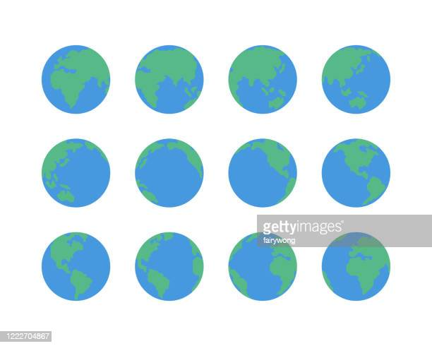 earth globe icons - planet earth stock illustrations