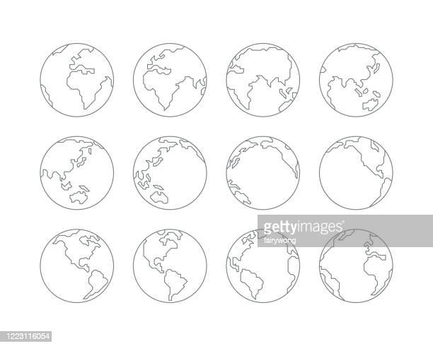 illustrazioni stock, clip art, cartoni animati e icone di tendenza di earth globe icons - europa continente