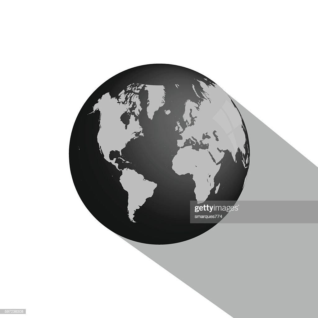 Earth Globe Long Shadow